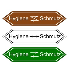 Direction sign hygiene and dirt vector image