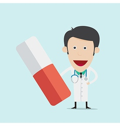 Doctor wearing a medical suit holding pill vector image