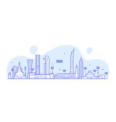 doha skyline qatar city buildings linear vector image