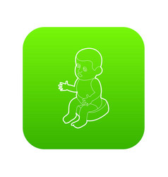 doll sitting on the potty icon green vector image