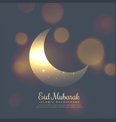 Eid mubarak stylish design with shiny moon vector