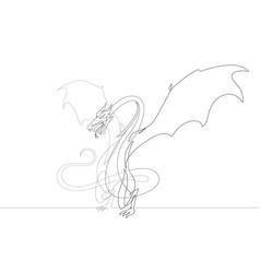 fantasy dragon one continuous line graphic vector image