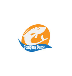 fish icon in sun shape and wave for logo vector image