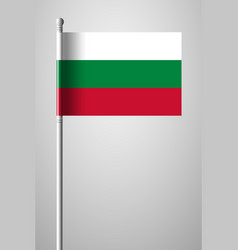 Flag of bulgaria national flag on flagpole vector