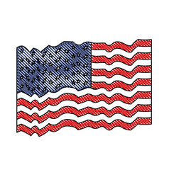 flag united states of america waving in colored vector image