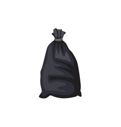 garbage black plastic bag full trash cartoon vector image