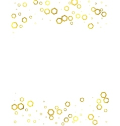 Gold glittering foil hexagons on white background vector