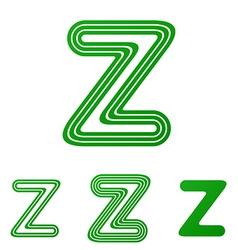 Green z letter logo design set vector