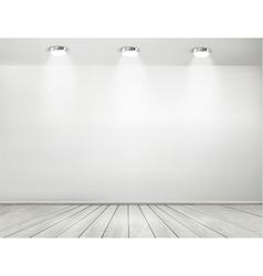Grey room spotlights and wooden floor Showroom vector image vector image