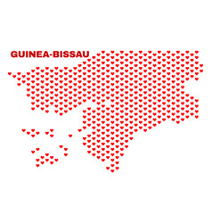 guinea-bissau map - mosaic of valentine hearts vector image