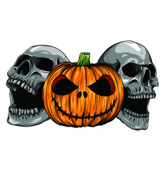 halloween skull pupmkids isolation vector image