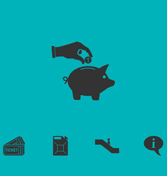 Hand pick down coin into pig money box icon flat vector