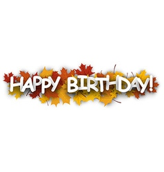 Happy birthday banner with leaves vector image