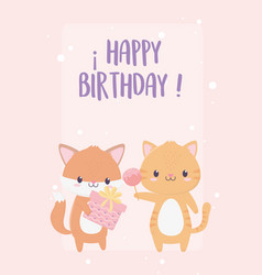 happy birthday fox tiger with gift and celebration vector image