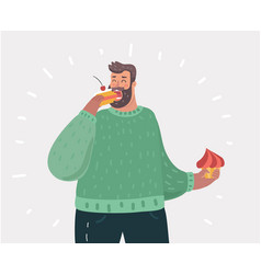 Happy fat man eating cake vector