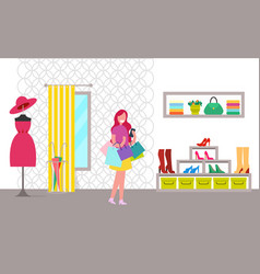 Happy woman with purchases in bright clothes store vector