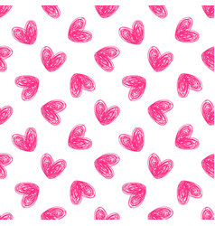 Heart hand drawn seamless pattern vector
