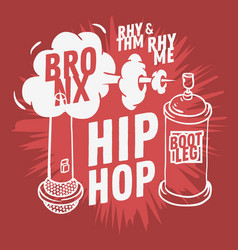 hip hop design with a microphone and graffiti vector image