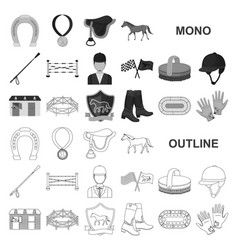 Hippodrome and horse monochrom icons in set vector