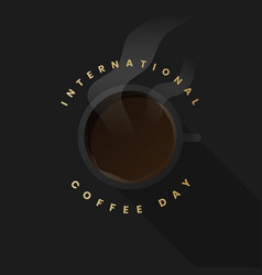 International coffee day black background template vector