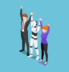 isometric business people and ai robot show vector image