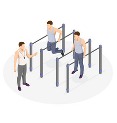 Isometric sportsman making workout push-ups and vector
