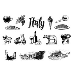 Italian set of sketches hand drawn vector