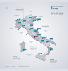 italy map with infographic elements pointer marks vector image