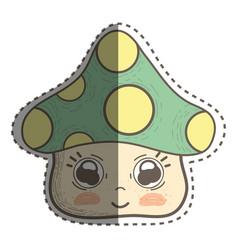 Kawaii fangus with cute eyes and cheeks vector
