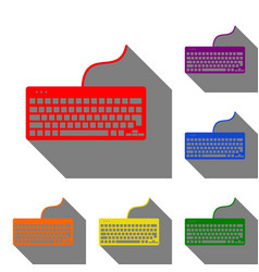 keyboard simple sign set of red orange yellow vector image
