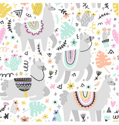 Lama seamless pattern vector
