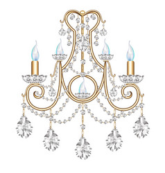 Lamp sconce vintage with crystal pendants on vector