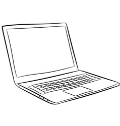 Laptop of contour black and white vector
