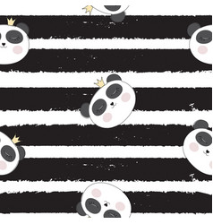 little cute pamda princess seamless pattern vector image