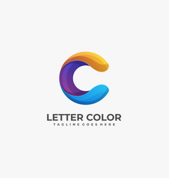 logo letter c colorful style vector image