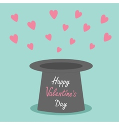 Magic black hat with flying pink hearts on blue vector image