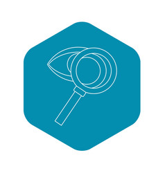 magnifying glass and eye icon outline style vector image