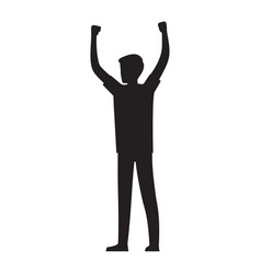 Man raises his hands up silhouette vector
