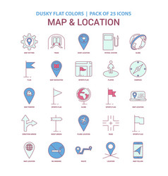 Map and location icon dusky flat color - vintage vector