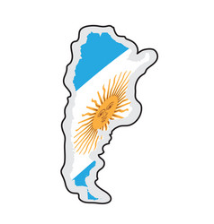 map of argentina with its flag vector image