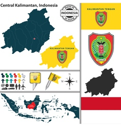 Map of Central Kalimantan vector image