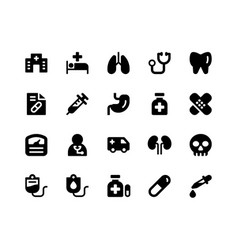 medical glyph icons vector image