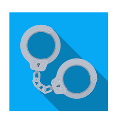 Metal handcuffs for detaining criminals outfit of vector