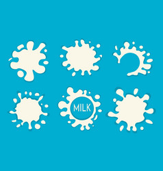 milk splash set of labels white milk splashes vector image