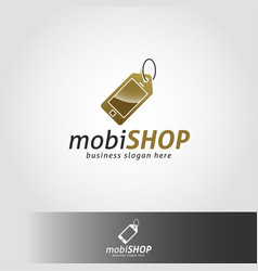 Mobile shop or mobile store logo template vector