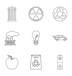 Natural environment icons set outline style vector image