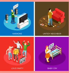 Neighbors isometric design concept vector