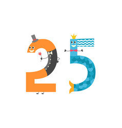 number twenty five cute cartoon character isolated vector image