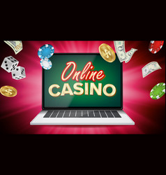 online casino banner with laptop poker vector image