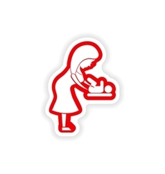 Paper sticker on white background mother and vector